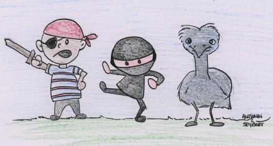 Pirate, Ninja, and Emu