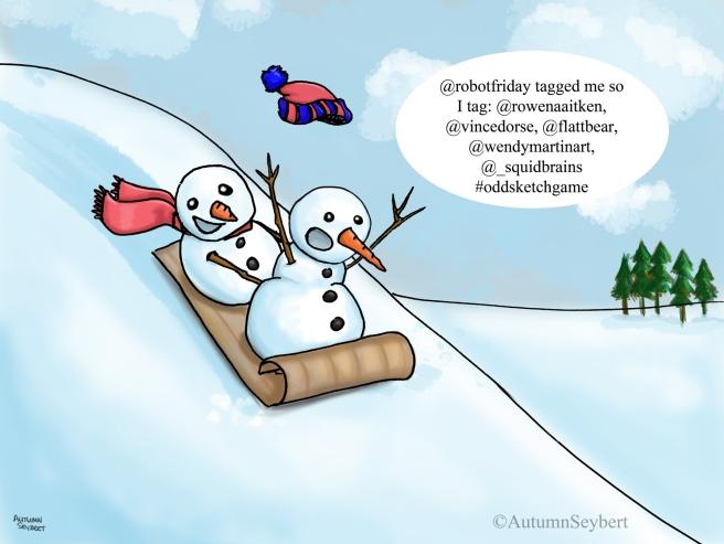 snowmen sledding