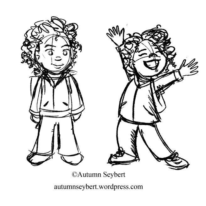 """""""Gracie is ready for school"""" On the left, we see the character looking pleasant, but we don't know what she's feeling. On the right, we can see Grace is excited and happy."""