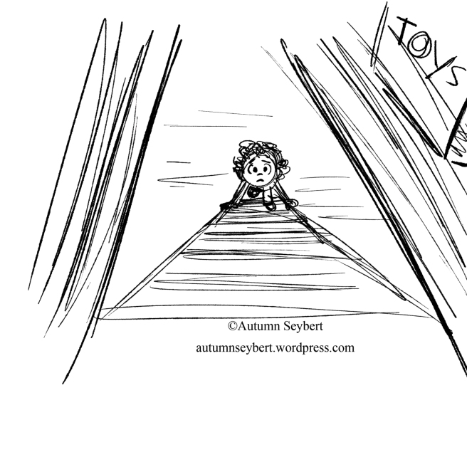 I always hated climbing up the ladder to the attic. We get a better sense of the height here, and understand why the character looks a little worried about what is in the attic. I think I could've pushed it a little to the right above too.